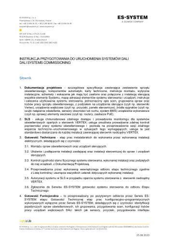 Instrukcja przygotowania do uruchomienia systemów DALI